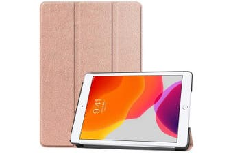 For Apple iPad 7th Gen Case, 7 Generation Cover 10.2 2019 Folio Leather Smart Magnetic Flip Stand Case Cover (Rose Gold)