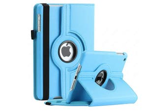 For Apple iPad 7th Gen Cover, iPad 7 Generation 10.2 2019 Leather Smart 360 Rotate Flip Stand Case Cover (Sky Blue)
