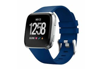 For Fitbit Versa/Lite/Versa 2 Replacement Band Wristband Silicone Sports Watch Navy Blue (5.5 to 7.1)