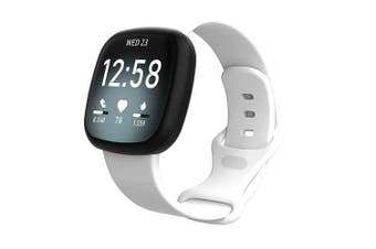 For Fitbit Sense Replacement Band Wristband Silicone Sports Watch (White-Small Size)