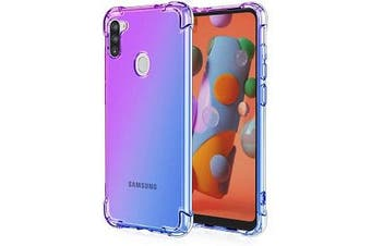 For Samsung Galaxy A11 Case Phone Cover Shockproof, Rreinforced Corner, Silicone soft Anti-fall TPU Mobile Phone Case (Purple/Blue)