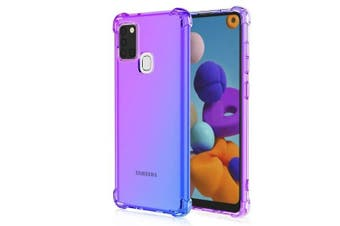 For Samsung Galaxy A21S Case Phone Cover Shockproof, Rreinforced Corner, Silicone soft Anti-fall TPU Mobile Phone Case (Purple/Blue)
