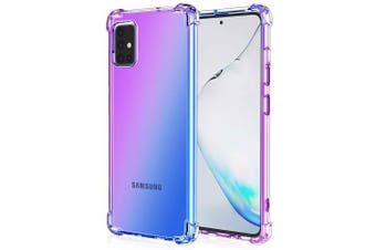 For Samsung Galaxy A51 Case Phone Cover Shockproof, Rreinforced Corner, Silicone soft Anti-fall TPU Mobile Phone Case (Purple/Blue)