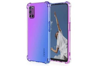For Oppo A52 Case Phone Cover Shockproof, Rreinforced Corner, Silicone soft Anti-fall TPU Mobile Phone Case (Purple/Blue)