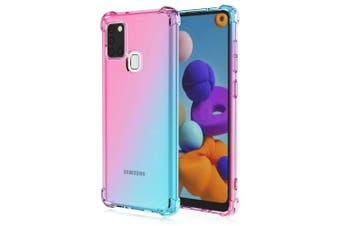 For Samsung Galaxy A21S Case Phone Cover Shockproof, Rreinforced Corner, Silicone soft Anti-fall TPU Mobile Phone Case (Pink/Aqua)