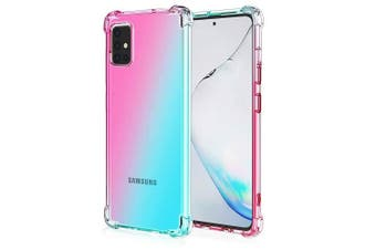 For Samsung Galaxy A31 Case Phone Cover Shockproof, Rreinforced Corner, Silicone soft Anti-fall TPU Mobile Phone Case (Pink/Aqua)