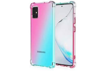 For Samsung Galaxy A51 Case Phone Cover Shockproof, Rreinforced Corner, Silicone soft Anti-fall TPU Mobile Phone Case (Pink/Aqua)