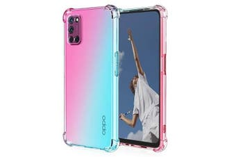 For Oppo A52, Case Phone Cover Shockproof, Rreinforced Corner, Silicone soft Anti-fall TPU Mobile Phone Case (Pink/Aqua)