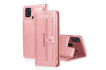 For Samsung Galaxy A21S Case SupRShield Luxury Wallet Leather Flip Magnetic Stand Case Cover (Rose Gold)