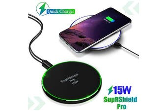 15W Wireless Charger SupRShield Pro Universal Qi Wireless Fast Charging Charger Pad for Apple iPhone Samsung Galaxy Google Oppo Huawei LG (Black)