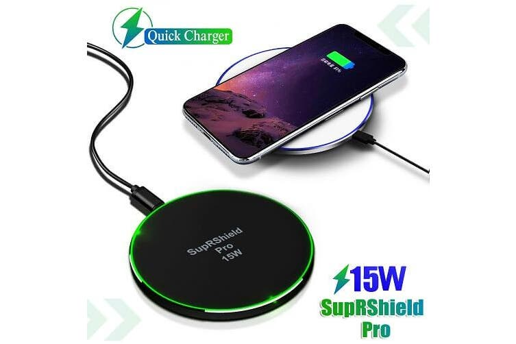 15W Wireless  Charger SupRShield Universal Qi Wireless Fast Charging Charger Pad for Apple iPhone Samsung Galaxy Google Oppo Huawei LG (Black)