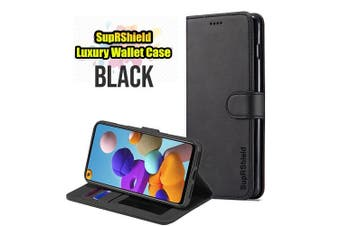 For Samsung Galaxy A21s SupRShield Wallet Leather Flip Magnetic Stand Case Cover (Black)