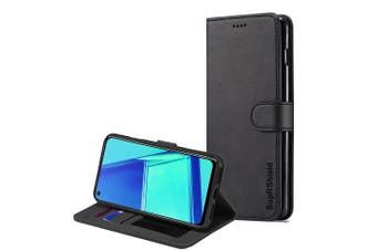 For Oppo A52 Case, SupRShield Wallet Leather Flip Magnetic Stand Case Cover (Black)