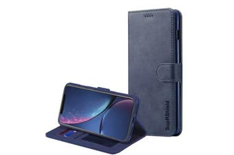 For iPhone XR SupRShield Wallet Leather Flip Magnetic Stand Case Cover For Apple (Navy Blue)