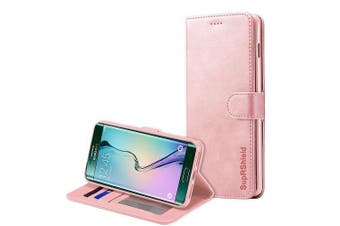 For Samsung Galaxy S6 Edge Case SupRShield Wallet Leather Flip Magnetic Stand Case Cover (Rose Gold)
