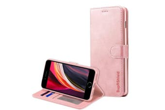For iPhone SE 2020 (2nd Gen) SupRShield Wallet Leather Flip Magnetic Stand Case Cover For Apple (Rose Gold)
