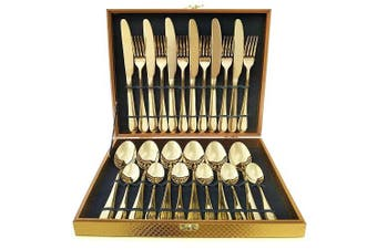 24 Pices Cutlery Set Stylish Deluxe Stainless Steel Knife Fork Spoon Teaspoon Kitchen Cutlery Set With Retail Box (Gold)