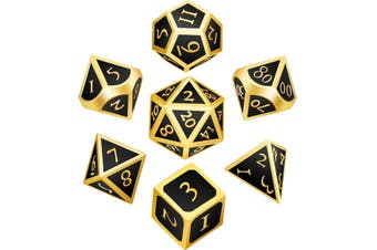 7 Pieces Metal Dices Set Polyhedral Solid Metal D&D Dice Set Zinc Alloy with Enamel for Role Playing Game Golden Edge Black