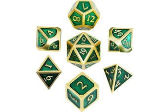 7 Pieces Metal Dices Set Polyhedral Solid Metal D&D Dice Set Zinc Alloy with Enamel for Role Playing Game Golden Edge Green