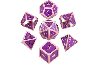 7 Pieces Metal Dices Set Polyhedral Solid Metal D&D Dice Set Zinc Alloy with Enamel for Role Playing Game Rose Edge Purple