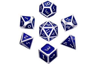 7 Pieces Metal Dices Set Polyhedral Solid Metal D&D Dice Set Zinc Alloy with Enamel for Role Playing Game Silver Edge Blue