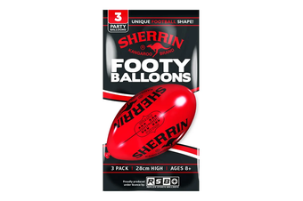 Sherrin Red Oval Footy Balloons (3 Pack)