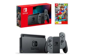 Nintendo Switch Grey Joy-Con Console with Super Mario Odyssey Bundle