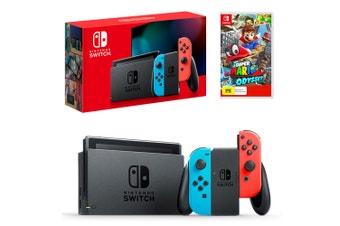 Nintendo Switch Neon Joy-Con Console with Super Mario Odyssey Bundle