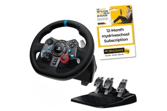 Logitech G29 Driving Force Racing Wheel with myDRIVESCHOOL 12-Month Subscription Bundle