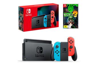 Nintendo Switch Neon Joy-Con Console with Luigi's Mansion 3 Bundle
