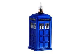 Dr Who Tardis 4.25 Inch Glass Christmas Ornament