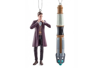Dr Who 4.5 Inch 11th Doctor & Sonic Screwdriver Ornament