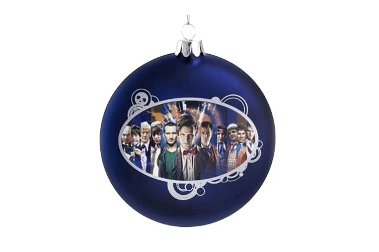 "Doctor Who Disc Shape 4"" Glass Xmas Ornament"