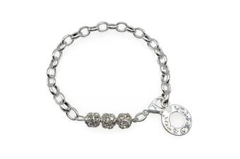 Love Circle' Silver Rhinestone Beaded Round Toggle Bracelet