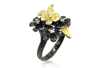 Floral Inspired with CZ Two Tone 925 Sterling Silver Ring