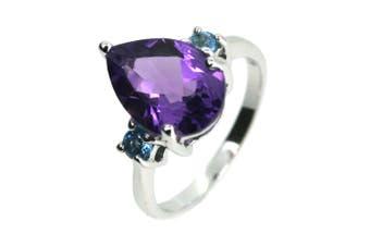 Amethyst & Swiss Blue Topaz Teardrop 925 Sterling Silver Ring