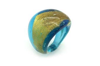 Blue & Yellow Metallic Lampwork Glass Ring