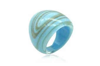 Sky Blue Metallic Swirl Lampwork Glass Ring