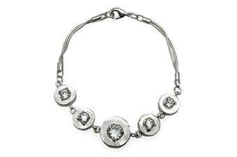 925 Sterling Silver Plated & CZ Link Bracelet
