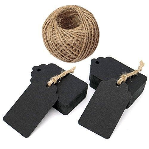 """100Pcs Black Tags, 7X4CM Kraft Paper Gift Tags Craft Hang Tags with 30M Jute Twine Brand: jijAcraftColor: BlackFeatures:  Material: The tags are made of 300 GSM paper card. Size: 7cm x 4cm . Approximately 1.57 inches wide by 2.75 inches long. The jute twine is 30 meters / 100 feet long , durable and multi-purpose for DIY projects. The tags are sturdy, made from high quality paper card and they come with a reinforced pre-punched hole with a twine (30 meter long) attached. The high quality paper label tags are great as message tags, thank you notes, bookmarks, gift tags, clothing tags, price tags, mason jar tags, Christmas gift tags, baby shower birthday favor tags, festival gift card, or other place name cards. Binding: Office ProductDetails: Item Description:Size: 7cm x 4cm . Approximately 1.57 inches wide by 2.75 inches long. The tags are sturdy, made from high quality kraft """"Craft"""" card and They come with a reinforced pre-punched hole with a twine (30 meter long) attached. The kraft paper tag can be used with markers/ stamps or ink; the craft tags absorb the ink well without bleeding. They can be used as tags, confetti, scrapbooking embellishment, cupcake toppers, cards or any other craft project. Great as wedding favour tags, gift tags or other place name cards. The vintage tags are ideal to use for customized stamped hang tags, price tags or even product labels. Package includes: 100PCS Rectangle Kraft Paper Gift Tags 30 Meters Long Jute TwinePackage Dimensions: 6.1 × 3.7 × 1.3 inches"""