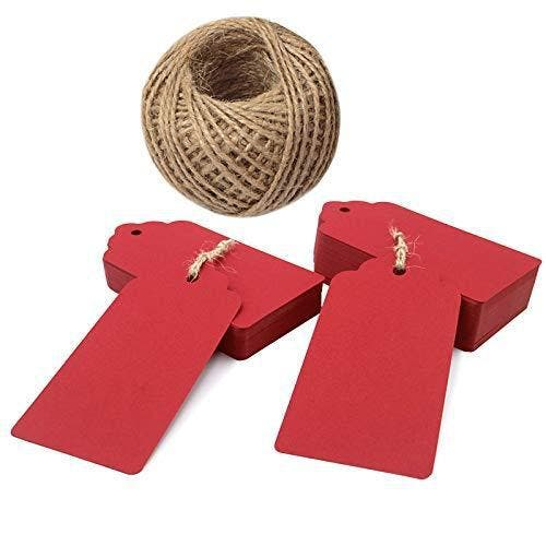 Red Tags,100 PCS Red Gift Tags for Christmas,10 * 5 cm Wedding Favour Craft Hang Tags with Jute Twine 30 Meters Long for Crafts & Price Tags Labels Brand: jijAcraftColor: RedFeatures:  Material: The tags are made of 300 GSM paper card. Size: 10 cm x 5 cm . Approximately 1.96 inches wide by 3.94 inches long. The jute twine is 30 meters / 100 feet long , durable and multi-purpose for DIY projects. The tags are sturdy, and they come with a reinforced pre-punched hole with a twine (30 meter long) attached. The high quality kraft paper label tags are great as message tags, thank you notes, bookmarks, gift tags, clothing tags, price tags, mason jar tags, Christmas gift tags, baby shower birthday favor tags, festival gift card, or other place name cards. Binding: Office ProductPublisher: JIJADetails: Material: The tags are made of 300 GSM paper card.  Size: 10 cm x 5 cm . Approximately 1.96 inches wide by 3.94 inches long.  The jute twine is 30 meters / 100 feet long , durable and multi-purpose for DIY projects.  The tags are sturdy, and they come with a reinforced pre-punched hole with a twine (30 meter long) attached.  The high quality kraft paper label tags are great as message tags, thank you notes, bookmarks, gift tags, clothing tags, price tags, mason jar tags, Christmas gift tags, baby shower birthday favor tags, festival gift card, or other place name cards.Package Dimensions: 5.5 × 4.3 × 2.4 inches