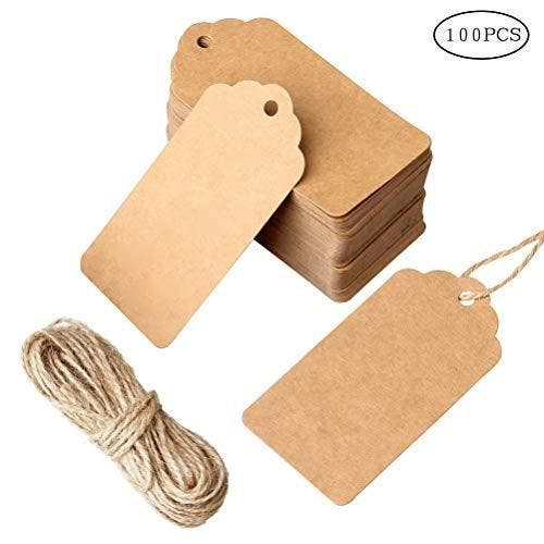 nuoshen 100 Pcs Gift Tags, Kraft Paper Tags Hang Tags DIY Price Tags Parcel Tags for Wedding with String Brand: nuoshenColor: 100 pcs brownFeatures:  ★Size:Tag size 4*9cm,string length 10 meters ★Material:The gift tags are made of high quality card paper. ★Feature:The gift tags with pre-punched holes and come with hairy twine to tie them onto whatever you are labeling ★Advantage: Great as wedding favour tags, gift tags or other place name cards,They are stunning wedding favor that you will be proud to present to your guests. ★Wide Application:The vintage tags are perfect for clothing tags, price tags, gift tags,mason jar tags, Christmas gift tags, festival gift card Binding: Office ProductPublisher: nuoshenDetails: Specifications:Color:Brown.Material:Made of high quality paper card.Size:Tag size 4.5*9cm string length 10 meters.Features:1.The jute twine is 10 meters long,durable and multi-purpose for DIY projects.2.Great as wedding favour tags, gift tags or other place name cards,They are stunning wedding favor that you will be proud to present to your guests.3.The vintage tags are perfect for clothing tags, price tags, gift tags,mason jar tags, Christmas gift tags, festival gift cardPackage includes:100 piece gift tags and 10 meters jute twine string.Package Dimensions: 7.5 × 5.4 × 0.9 inches