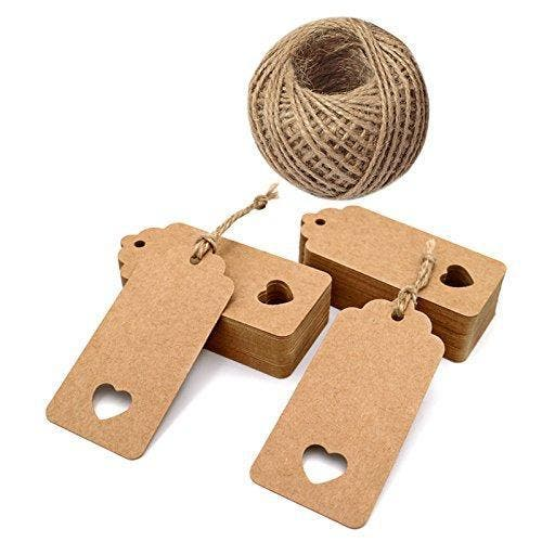 100 PCS Kraft Paper Gift Tags 4.5cm x 9.5cm Rectangular with Lovely Hollow Heart Wedding Favour Tags and Price Tag with Jute Twine Long for Luggage Tags and DIY Tags Brand: jijAcraftPublisher: JIJA