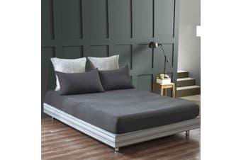NEW Gioia Casa 100% Jersey Cotton Fitted Sheet Deep Wall Queen - Black