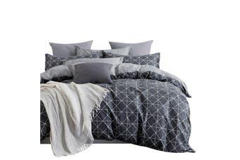 100% Cotton Reversible Bedding Duvet Doona Quilt Cover Set Queen - Manhattan