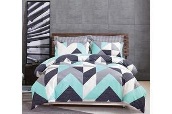 100% Cotton Reversible Bedding Duvet Doona Quilt Cover Set King - Modern City