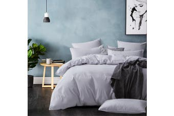 GIOIA CASA 100% Cotton Modern Corduroy Quilt Cover Set Silver - Super King Size