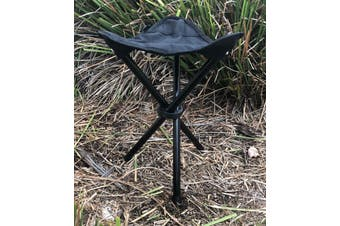 Compact Lifestyle 3 Leg Folding Camp Stool - Black with Carry Bag