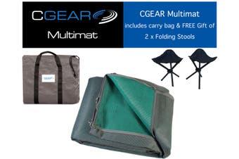 CGEAR Multimat - 3.35M x 2.4M - Green/Grey - With Bonus FREE Gift - 2 x folding stools