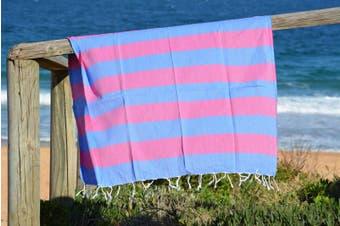 Compact Lifestyle Beach Daze Turkish Towel – Blue/Fuchsia